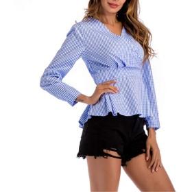 BTXXY レディースVネックウエストフリル長袖縦縞スリムシャツ (Color : Blue, Size : L)