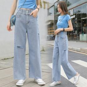 韓国ファッション ジーンズ 着痩せ 無地 細い足 美脚 穴を破れたズボン デニム ジーンズ 柔らかい 可愛 韓国 レディースファッション