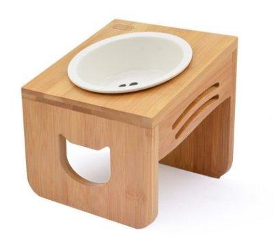 【饅頭貓寵物雜貨舖】優米卡 斜口木頭碗架+陶瓷碗
