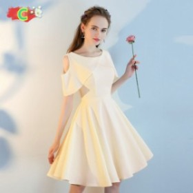 ショートドレス Aラインフォーマル ショート丈ワンピパーティードレスミニドレス 編み上げ
