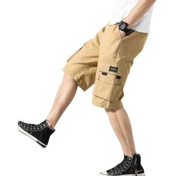 [YUNCLOS] ショートパンツ メンズ デニム 大きいサイズ 半パンツ 調整紐 ショーパン サマー カーゴハーフパンツ 夏