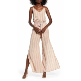 ワンクロージング ONE CLOTHING レディース オールインワン ワンピース・ドレス Sleeveless Tie Waist Jumpsuit Taupe/Blue