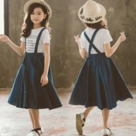 英字柄 半袖 Tシャツ+デニムスカート キャミスカート 女の子 上下セット セットアップ フォーマル 通園通學 カジュアル 子供