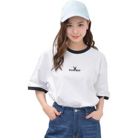 ホワイト L JACK PORT(ジャックポート) PLAYBOY プレイボーイ リンガー ハーフラビット Tシャツ レディース JK124842006201