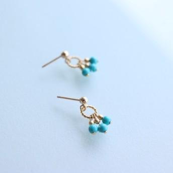 14kgf - Turquoise × Gold metal beads