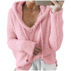 GodeyesW 婦人用カシミアセーターのドローストリングフードプルオーバースウェットシャツがよい Pink 2XLarge