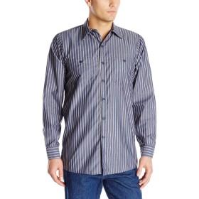 STRIPE LS WORK SHIRT KN(ストライプ長袖ワークシャツ) (Lサイズ) (ネィビーXカーキ)