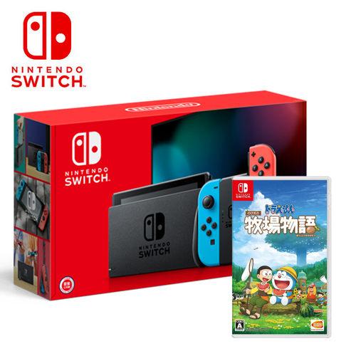 【預購NS組合 】任天堂 New Switch 新版紅藍主機+哆啦A夢 牧場物語《中文版》