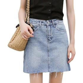 夏の女性の学生ハイウエストソリッドカラーの気質のスカート基本的な居心地の良いエレガントなファッションロングスキニージーンズ靴スリムフィットデニムドレス (Color : Hellblau, Size : L)
