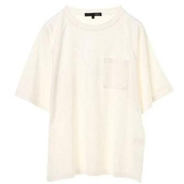 グリーンパークス Green Parks ポケット付5分袖ワイドラグランTシャツ (Off White)