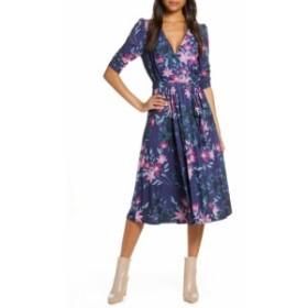 エリザジェイ ELIZA J レディース ワンピース ワンピース・ドレス Floral Print Faux Wrap Midi Dress Blue