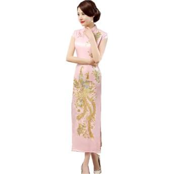 (上海物語)Shanghai Story 鳳凰 花 刺繍 半袖 カラー マキシ丈 ロング チャイナ ドレス(レディース、女性用 チーパオ 中華風 中国 パーティー ワンピース 伝統服 3XL Pink