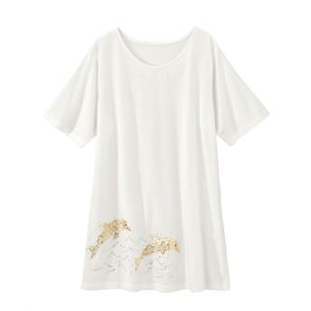 デコラティブプリントカットソーチュニック(オトナスマイル) (大きいサイズレディース)Tシャツ・カットソー