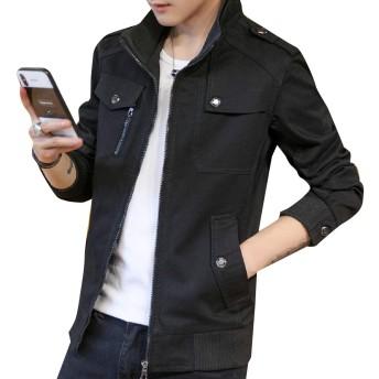 GodeyesW メンズオープンワークフリースラインスタンドカラー襟ダスターコート Black 3XL