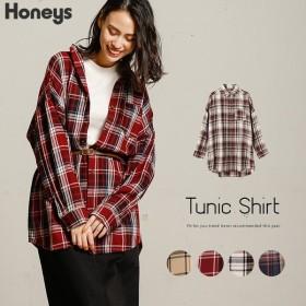 Honeys ハニーズ チェックチュニックシャツ