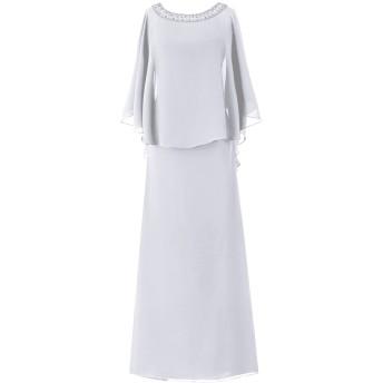Dresstell(ドレステル) フォーマル 結婚式ドレス ドルマンスリーブ ビジュー付き ママのタイプ レディース ホワイト 25W号