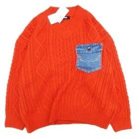 【中古】未使用品 ロデオクラウンズワイドボウル RODEO CROWNS WIDE BOWL RCWB デニムポケット ケーブルニット プルオーバー セーター F オレンジ
