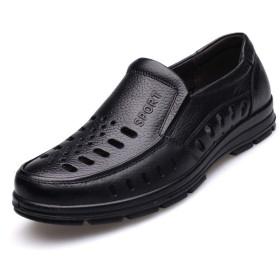 [GoldFlame-JP] ビジネスシューズ メンズ サンダル 通気性 フォーマル 夏用 ドライビングシューズ フォーマル 革靴 柔軟 蒸れない レースアップ クッション性 滑り止め オフィス ビジネス 就職活動 紳士靴 ブラック