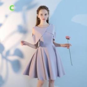 フォーマル ショート丈ワンピ  ショートドレス Aライン  パーティードレス  ミニドレス 編み上げ