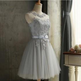 パーティードレス 袖なしドレス ドレス ウェディングドレス 二次会 膝丈ドレス 発表会 パーティドレスミニドレス