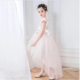 女の子ドレス 子供ドレス キッズドレス 小花付きのサテンドレス パーティー お姫様 膝丈 発表会 結婚式 ピアノ演奏会 フォーマル