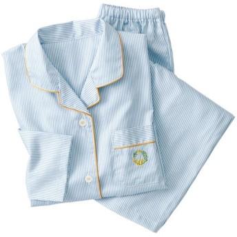 40%OFF【レディース】 ストライプサテンパジャマ(綿100%・日本製) - セシール ■カラー:ブルー ■サイズ:S