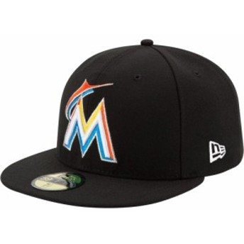 ニューエラ New Era メンズ キャップ 帽子 Miami Marlins 59Fifty Home Black Authentic Hat
