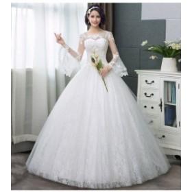 結婚式ワンピース お嫁さん 豪華な ウェディングドレス マキシドレス 透け感レース 長袖 花嫁 ドレス ホワイト色