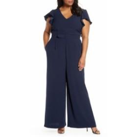 エリザジェイ ELIZA J レディース オールインワン ワンピース・ドレス Flutter Sleeve Jumpsuit Navy