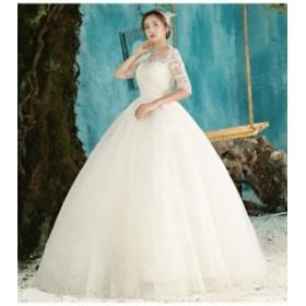 ウェディングドレス 結婚式ワンピース きれいめ 花嫁 ドレス 大人エレガント 優雅 ハイウエスト Aラインワンピース 白ドレス