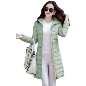 YiTong フード付き 中綿コート レディース 冬服 韓国風 おしゃれ 軽量中綿 ロングコート 無地 シンプル ダウンコート(Qグリーン)