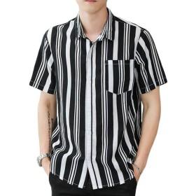 ZhongJue(ジュージェン)ストライプシャツ メンズ 半袖 ゆったり シャツ ストライプ柄 ボタン付き ファッション カジュアルシャツ 綿 麻 通気 爽やか 夏服 快適な おしゃれ(8黒)