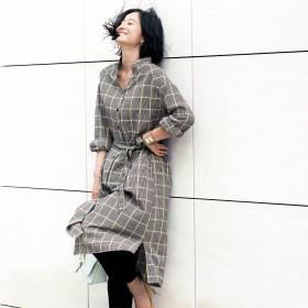 羽織にもなる柔らかな着心地の綿100%ヘリンボーンワンピース