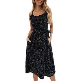 chenshiba-JP Women's Summer Polka Dot Spaghetti Strap Button Down Swing Midi Dress Black L