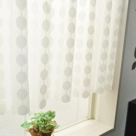 日本製 水玉柄のカフェカーテン ホワイト 148c×48cm 24197