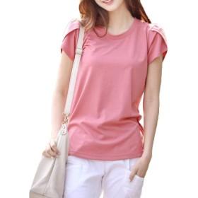 AGAING 女性キャリアオフィス半袖トップスブラウスクルーネックTシャツ Pink XL