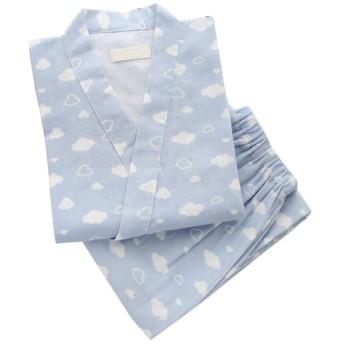 甚平 レディース 浴衣地 和柄 ルームウェア レディースパジャマ 肌触り良い 寝間着 可愛い 雲 前開き 半袖 上下セット (ブルー, M)