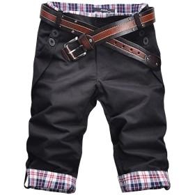 (ネルロッソ) NERLosso 7分丈 パンツ メンズ ミディアムパンツ 7部丈 クォーターパンツ クロップドパンツ ボトムス L ブラック cmg24132
