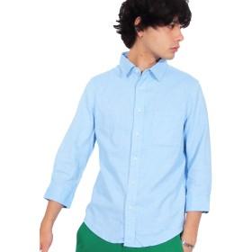 (エイト) 8(eight)16color リネン 7分袖シャツ 綿 麻 涼しい ライトブルー LL