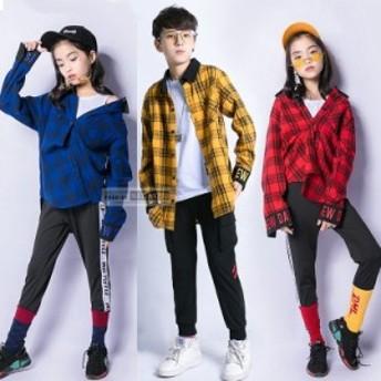 キッズダンス衣装 ヒップホップ セットアップ キッズ ダンス衣装 ガールズ チアダンス チアダンス衣装 韓国 Tシャツ トップス 韓国ダンス