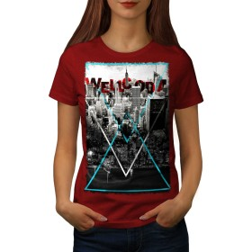 Wellcoda シティ 抽象 Wellcoda 婦人向け 赤 2XL Tシャツ