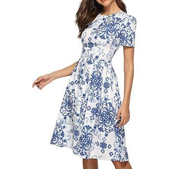 memomomoko大人 可愛い 半袖 切り替え ワンピ レディース ドレス ワンピース 花柄 半袖 ゆったり 膝丈ワンピース ドレス ロング 体型カバー きれいめ 上品 ドレスフォーマル