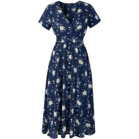 ドレス、シフォンVネックのセクシーなウェーブを印刷ボヘミアンドレス、海軍、X-大