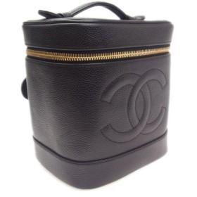 【新宿店】【中古】CHANEL シャネル A01998 縦型バニティ キャビアスキン ブラック ゴールド金具