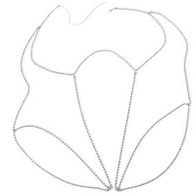 BAO8 アクセサリー シャイニー 女性 ラインストーン ボディー ジュエリー 足の鎖 太ももの鎖 クリスタル 美脚 ボディチェーン チャーム ファッション 人気 アクセサリーパーツ (シングル, シルバー)