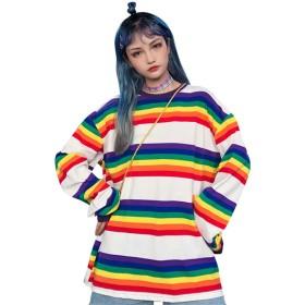 (ライチ) Lychee レディースカットソー Tシャツ スウェットシャツ 長袖 虹色 丸首 O-Neck ボーダー おしゃれ オーバーサイズトップス カジュアル