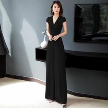 かっこいいパンツドレス パーティードレス パンツ 結婚式 パンツドレス 大きいサイズ オールインワン カシュクール 袖あり 3L 4L 全4色