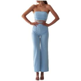 sayahe 女性のストラップレスは、ハイウエストコンフィージャンプスーツスーツロンパー Light Blue S