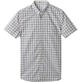 メンズシャツ市松カジュアル半袖シャツスリムフィットウエスト夏小さな襟コットンシャツ (1312グレー XL)