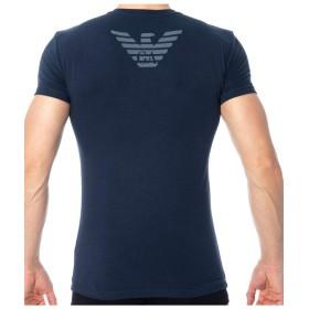 EMPORIO ARMANI(エンポリオアルマーニ) メンズ クルーネック 丸首 コットン スリムフィット 半袖 Tシャツ イーグルマーク バックプリント ロゴ 白 黒 紺 [1110359p745] [並行輸入品]